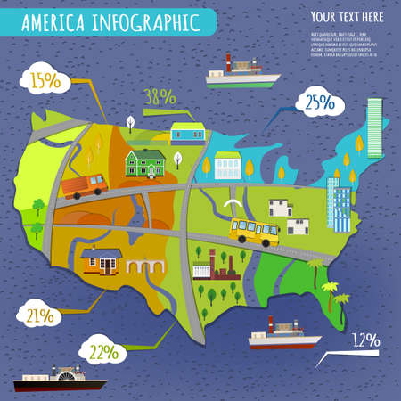 Vector illustration of USA infographics with stylish roads, rivers and buildings. Vector image.