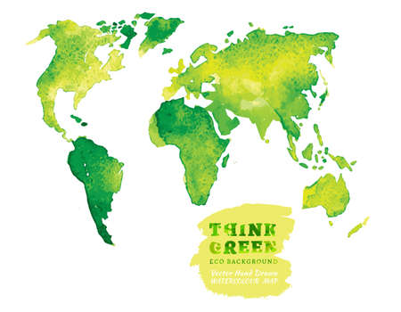 Vector watercolor hand drawn Illustration of environmentally friendly World map. Think Green. Ecology Concept. Illustration