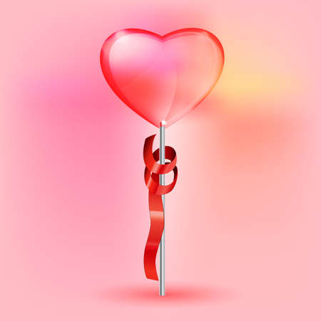 lollypop: Vector illustration of the transparent heart lollypop on the pink background