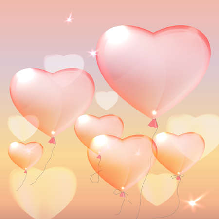women subtle: Vector illustration of the heart balloons on the light pink background