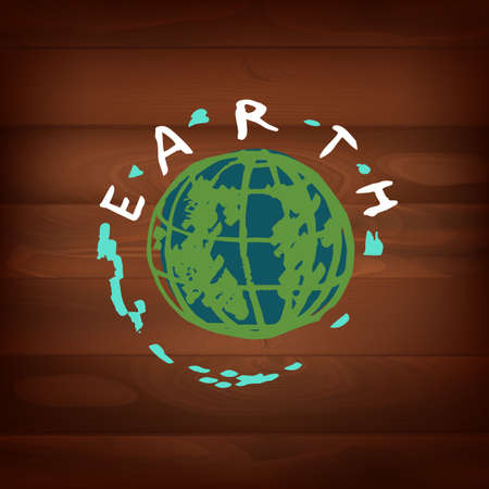 The illustration of different logos and eco signs on a dark wooden texture. Vector image Vector