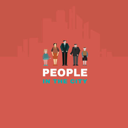People in the city. Vector concept. Could be used in logotypes, signs,  infographic, templates, presentations and posters. Vector