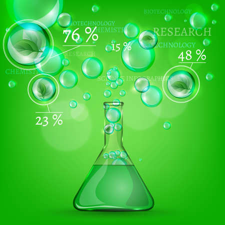 The illustration of science infographic on a green background. Vector image. Illustration