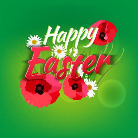 camomiles: The illustration of  beautiful Easter background with different field flowers, camomiles, poppies and other. Vector image.