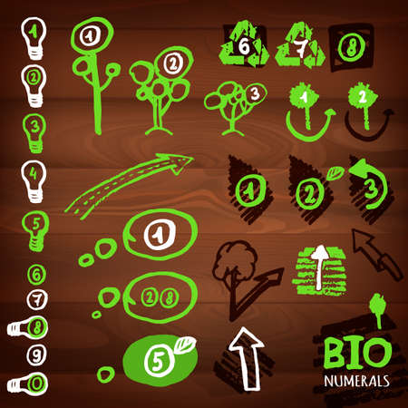 The illustration of different logos, bullits, numerals and eco signs on a dark wooden texture. Vector image Vector