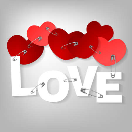 nailing: The illustration of a pinned red hearts. Vector image. Illustration