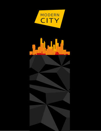 Modern cityscape design with polygonal elements. Stylish vector concept. photo