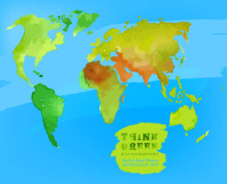environmentally friendly: Vector watercolor hand drawn Illustration of environmentally friendly World map. Think Green. Ecology Concept. Stock Photo