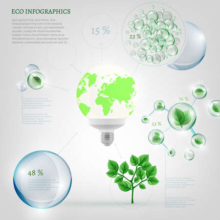 The illustration of bio infographics with energy-saving light and green leaves in transparent bubbles. Ecology set. Stock Photo
