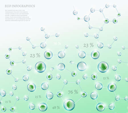 biochemistry: The illustration of bio infographics with green leaves in transparent molecules. Ecology and biochemistry concept.