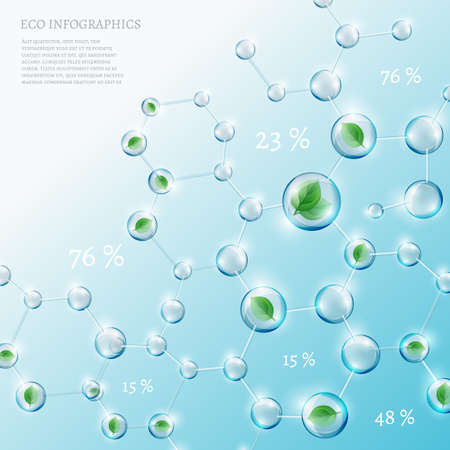 cell growth: The illustration of bio infographics with green leaves in transparent molecules. Ecology and biochemistry concept.