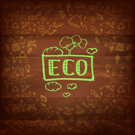 The illustration of different and eco signs on a dark wooden texture.  Vector