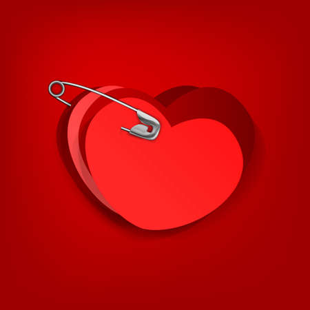pinned: The illustration of a pinned red hearts.  Illustration