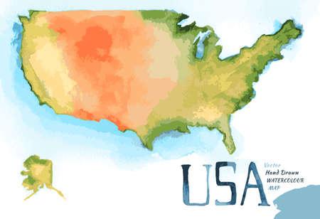 Watercolor hand drawn Illustration of USA map.  Illustration