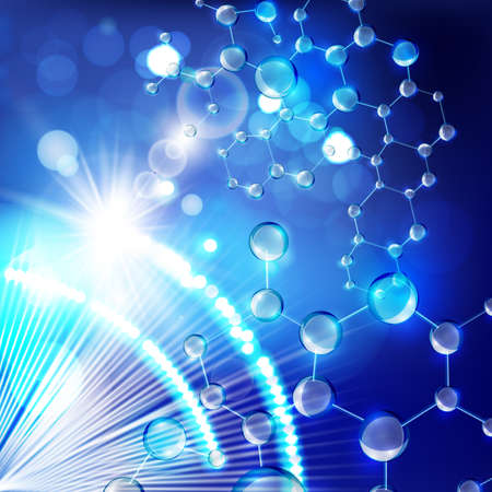 Vector illustration of futuristic digital blurred lights with molecules and particles.