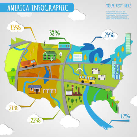 transportation facilities: Vector illustration of USA infographics with stylish roads, rivers and buildings. Vector image.