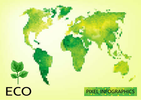 environmentally friendly: Mosaic Illustration of environmentally friendly World map. Think Green. Ecology Concept.
