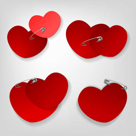 nailing: The illustration of a pinned red hearts.  Illustration