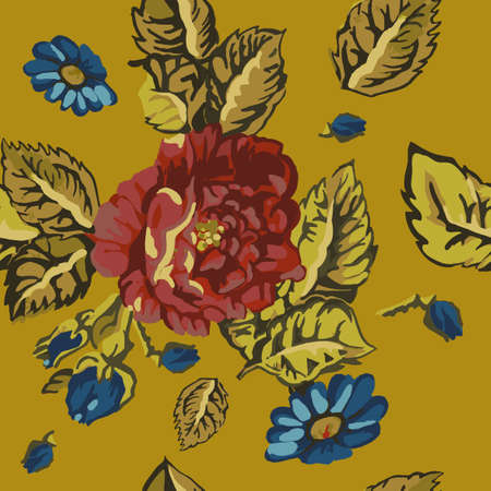 The illustration of beautiful seamless floral pattern. Vector handdrawn image Vector
