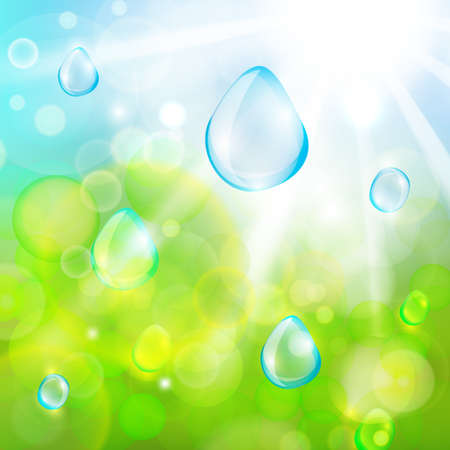 ochtend dauw: The illustration of sun beans and water drops. Vector image
