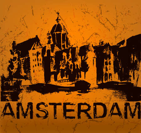 amsterdam canal: The illustration of  beautiful Amsterdam city hand drawn graphic. Vector image. Illustration