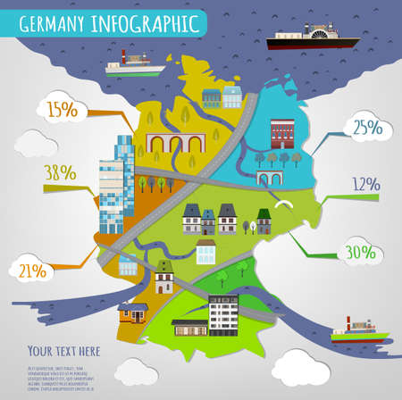 Vector illustration of Germany infographics with stylish roads, rivers and buildings. Vector image. Illustration