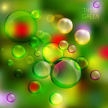 think green: Ilustraci�n vectorial de burbujas de medio ambiente en el fondo multicolor. Piensa Verde. Ecolog�a concepto.