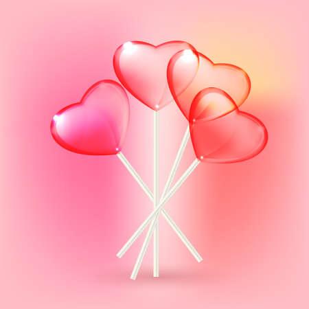 lolli: Vector illustration of the transparent heart lollypops on the pink background Illustration