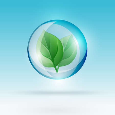 reflection of life: The illustration of a green leaf in a transparent bubble. Ecology Concept. Illustration