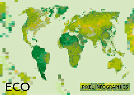 environmentally: Vector mosaic Illustration of environmentally friendly World map. Think Green. Ecology Concept.