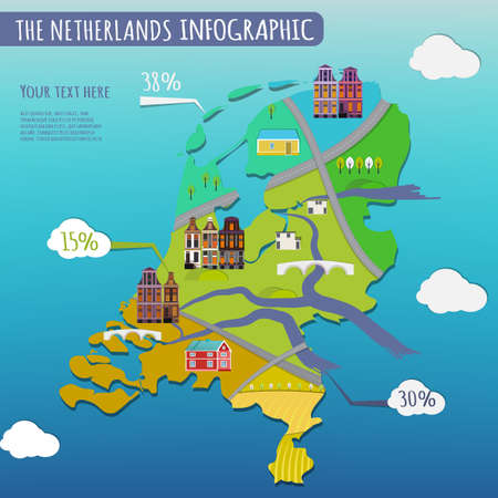 Illustration Of The Netherlands Infographics With Stylish Roads - Netherlands rivers map