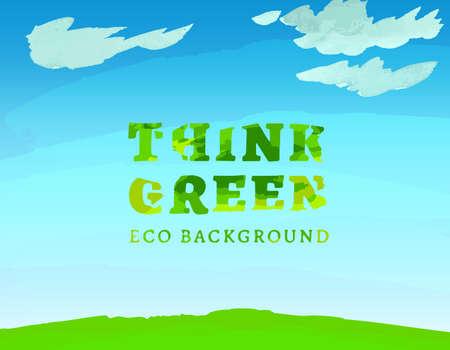environmentally: Vector watercolor hand drawn Illustration of environmentally friendly World. Think Green. Ecology Concept.
