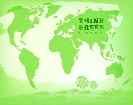 environmentally: Vector watercolor hand drawn Illustration of environmentally friendly World map. Think Green. Ecology Concept. Illustration