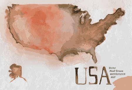 Vector aquarel hand getekende Illustratie van de kaart van de VS. Vector beeld.