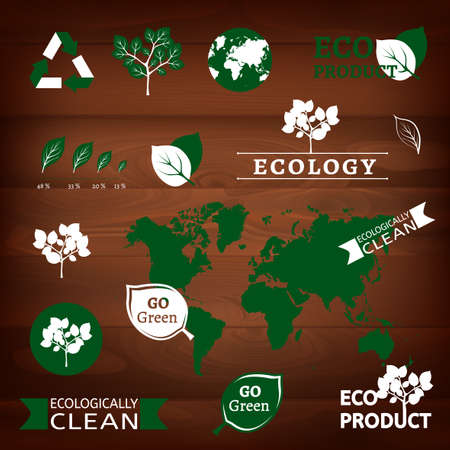 od: The illustration of different eco signs od a dark wooden texture. Vector image Illustration