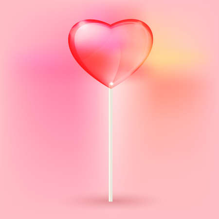 sucking: Vector illustration of the transparent heart lollypops on the pink background Illustration