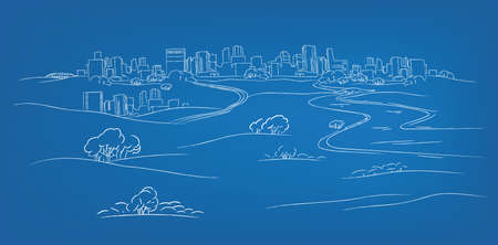 The illustration of hand drawn landscape. Vector image. Vector