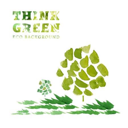 think green: Piensa Verde. Ecolog�a concepto. La Ilustraci�n con fondo ecol�gico. Dibujado a mano vector de imagen. Vectores