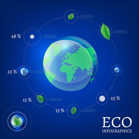reforestaci�n: La ilustraci�n de globo ecol�gico infograf�a. Ecolog�a concepto. Vectores