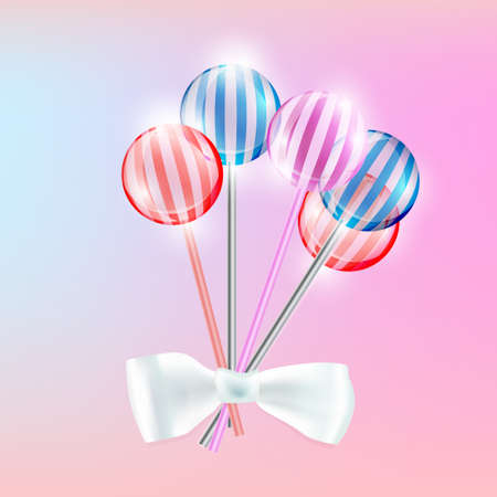 sucking: Vector illustration of the transparent lollypops with stripes on the pink background