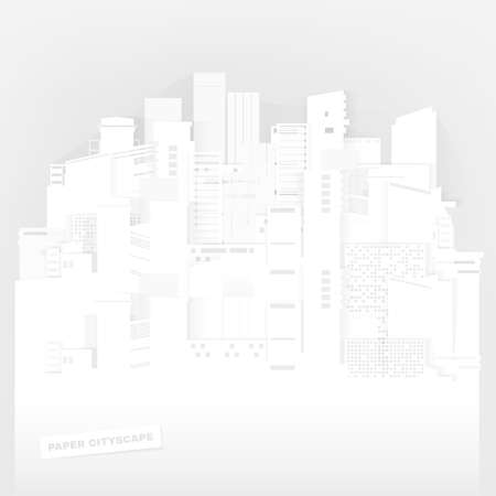 The illustration of white paper styled cityscape. Vector image. Vector