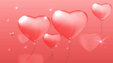 pastoral: Vector illustration of the heart balloons on the light pink background