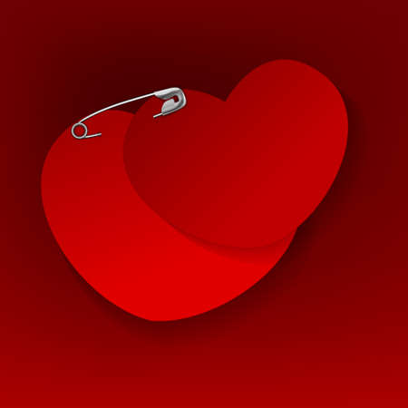 complement: The illustration of a pinned red heart. Vector image.
