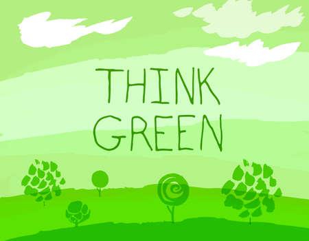 environmentally friendly: Vector watercolor hand drawn Illustration of environmentally friendly World. Think Green. Ecology Concept.