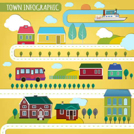 Vector illustration of abstract eco town infographics. Vector image. Illustration