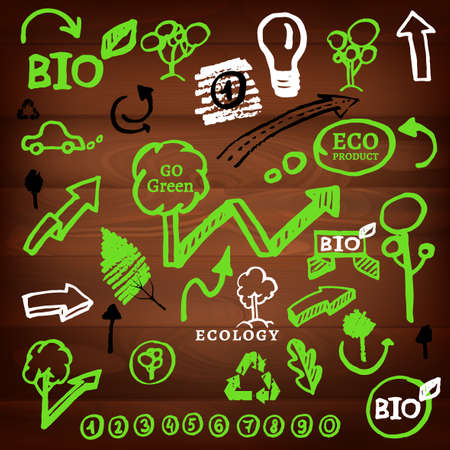 The illustration of different and eco signs on a dark wooden texture. Vector image Vector