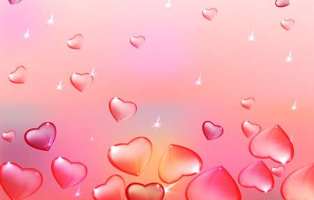 women subtle: Vector illustration of the transparent hearts on the light background