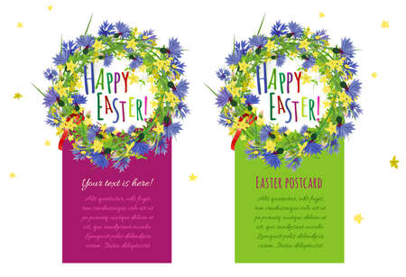 image size: The illustration of  beautiful Easter postcards. Vector image. Ready to use in any size.
