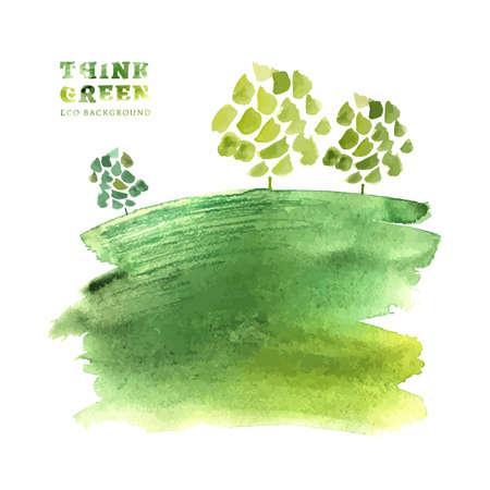 Piensa Verde. Ecología concepto. La Ilustración con fondo ecológico. Dibujado a mano vector de imagen.
