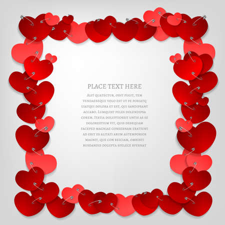 pinned: The illustration of a beautiful frame made from pinned red hearts. Vector image. Illustration
